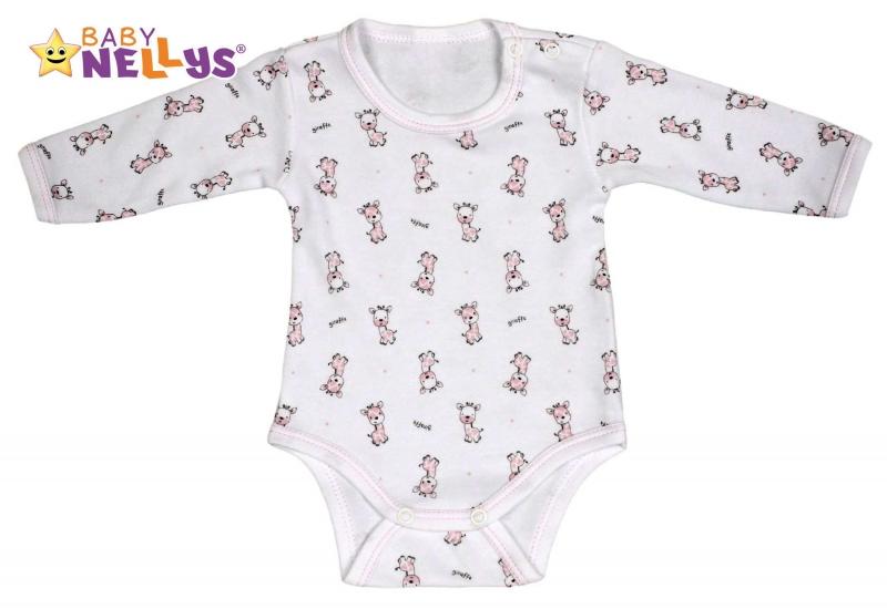 Body dlhý rukáv Baby Nellys® - Giraffe - růžová