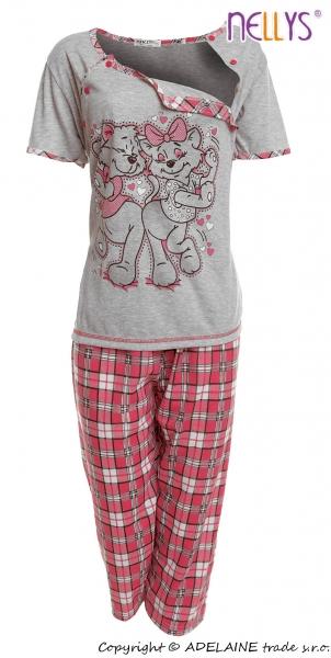 Tehotenské, dojčiace pyžamo Mačky - sivá / růžová