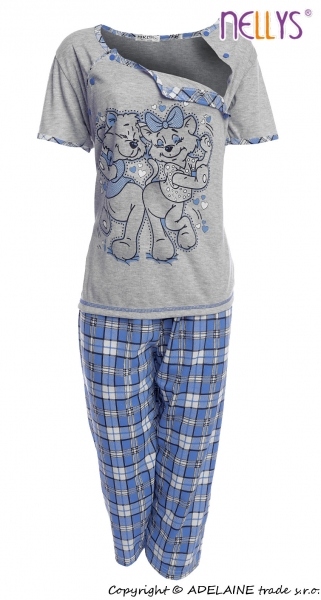 Tehotenské, dojčiace pyžamo Mačky - sivá / modrá