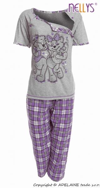 Tehotenské, dojčiace pyžamo Mačky - sivá / fialová