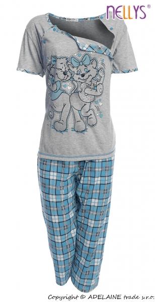Tehotenské, dojčiace pyžamo Mačky - sivá / tyrksová