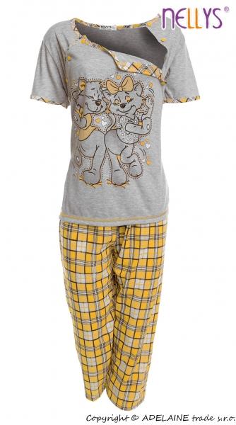 Tehotenské, dojčiace pyžamo Mačky - sivá / žltá