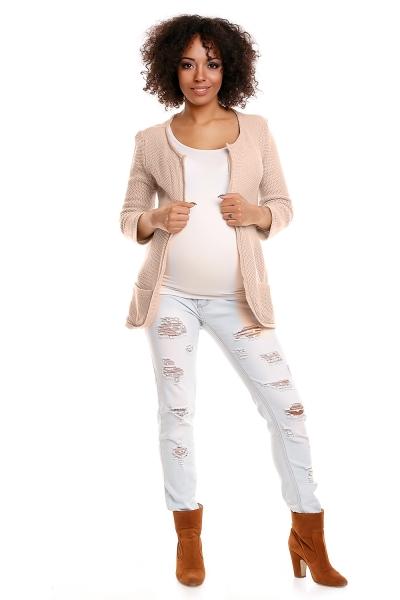 Tehotenský sveter Dory 3/4 rukáv - svetlo béžová