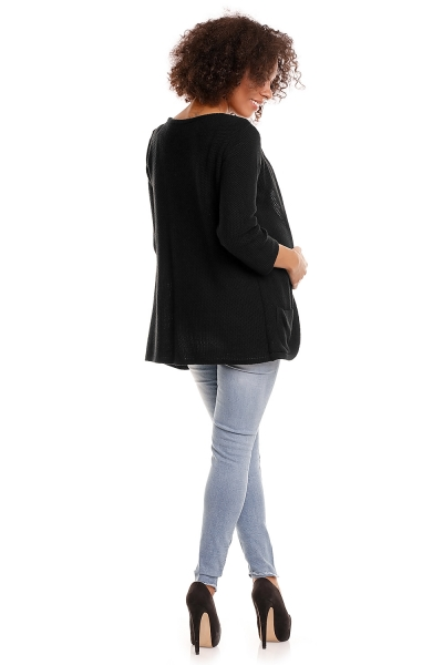 Be MaaMaa Svetrové kabátik s vreckami Dory - čierny