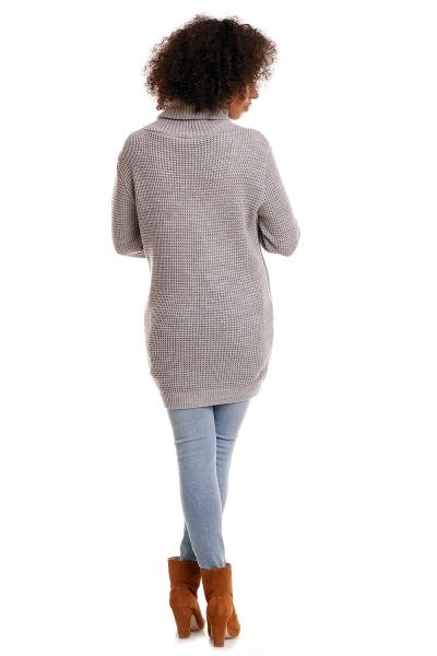 Tehotenský pulóver s rolákom Poly - sv.sivý
