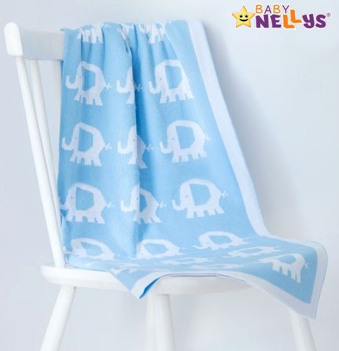 Deka z úpletu Baby Nellys ® SLON - sv. modrá