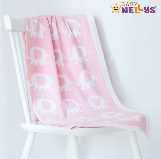 Deka z úpletu Baby Nellys ® SLON - sv. růžová