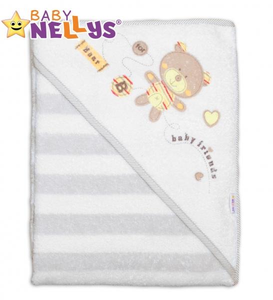 Froté osuška s kapucňou Baby Nellys® Bear friends - béžový prúžok