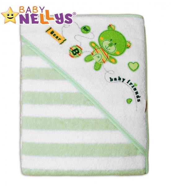 Froté osuška s kapucňou Baby Nellys® Bear friends - zelený prúžok