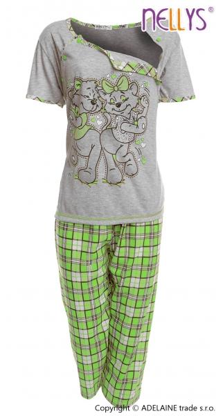 Tehotenské, dojčiace pyžamo Mačky - sivá / zelená
