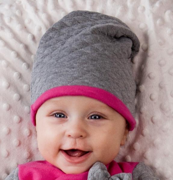 Sada - čiapky a šatka HELLI - sivá / ružová