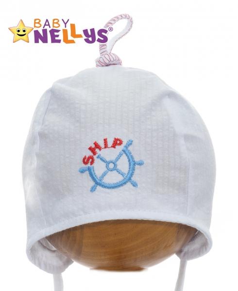 Letná čiapočka baby Nellys - námornícka - biela, veľ. 34-36
