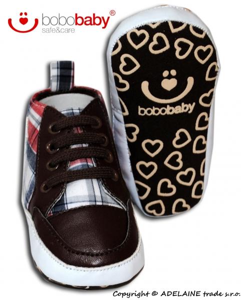 Rozkošné  topánočky BOBO BABY - košeľový vzor s hviezdičkou-12/18měsíců