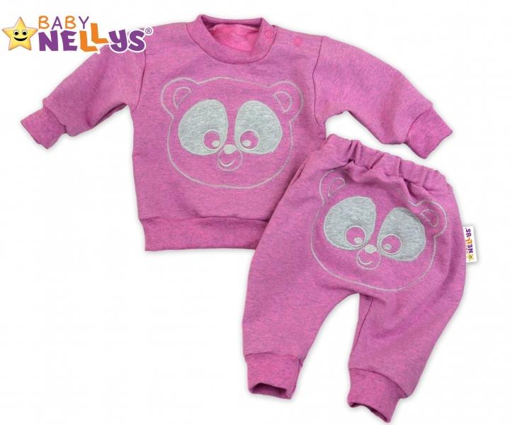 Tepláková súprava Baby Nellys -  MEDVEDÍK - růžový melír, veľ. 74