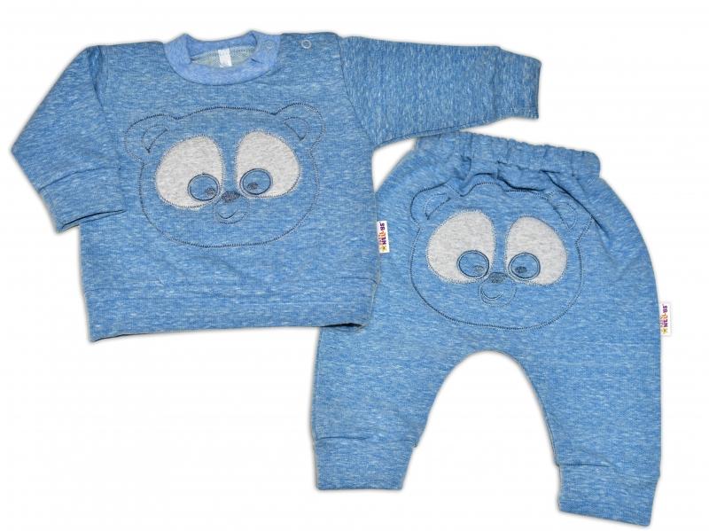 Tepláková súprava Baby Nellys - MEDVEDÍK - modrý melír, veľ. 68