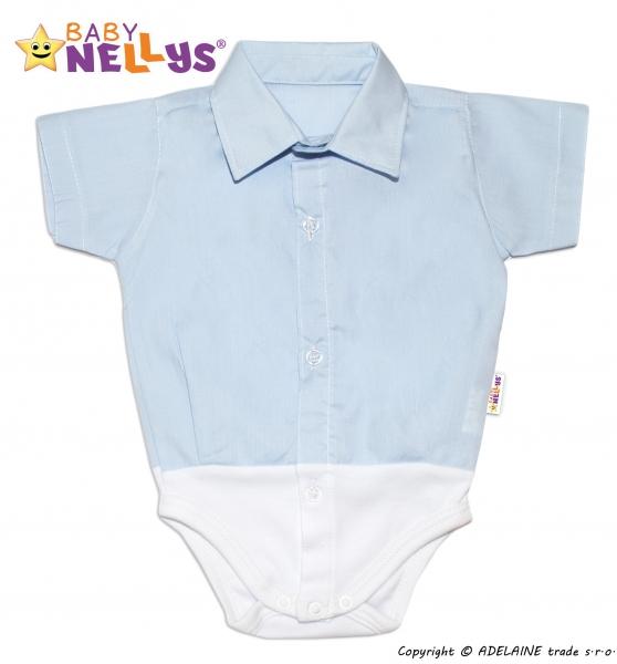 Baby Nellys Košeľa-body krátky rukáv - modré, veľ. 62