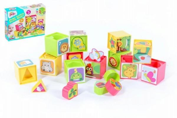 Teddies Kocky kubus vkladacka plast -12ks v krabici - od 12 mesiacov