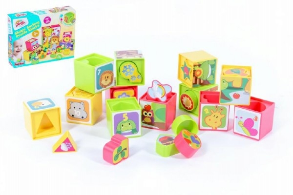 Teddies Kocky kubus vkladačka plast -12ks v krabici - od 12 mesiacov