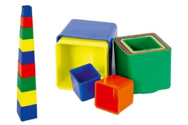 Teddies Kubus pyramída hranatá plast  4 farby 9ks v sáčku od 12 mesiacov