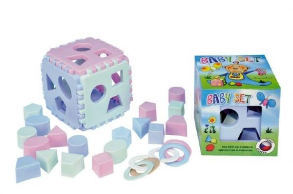 Teddies Baby set vkladacia kocka Mimi + krúžky na hryzenie v krabičke od 6 mesiacov