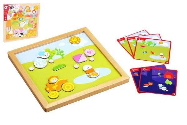 Teddies Magnetická tabuľka drevo 25x25x1,2cm obojstranná 53ks