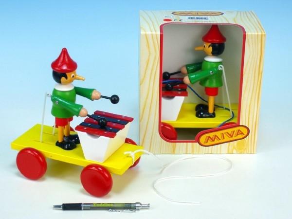 Teddies Pinocchio s xylofónom ťahacie drevo 20cm v krabičke od 12 mesiacov