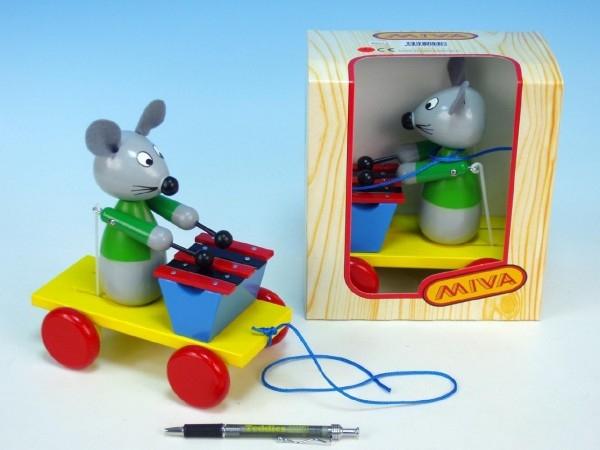 Teddies Myš s xylofónom drevo ťahacie 20cm v krabičke od 12 mesiacov