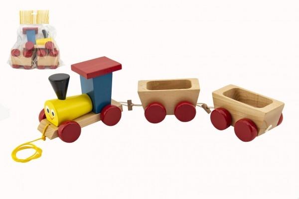 Vlak + 2 vagóniky drevo ťahacie farebný celková dĺžka 43cm v krabici od 12 mesiacov