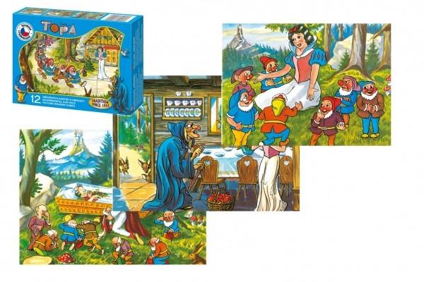 Teddies Kocky kubus Snehulienka drevo 12ks v krabičke 16,5x12x4cm
