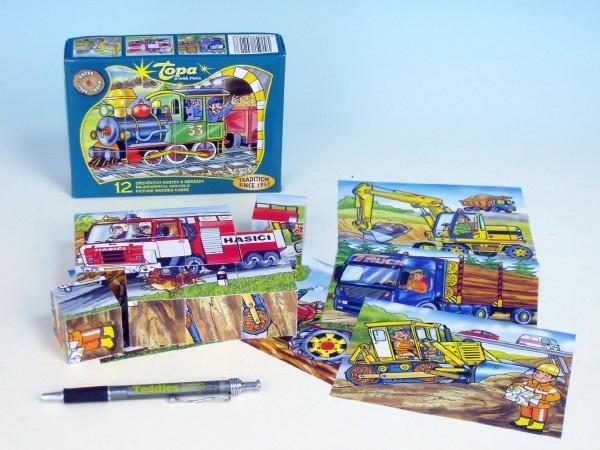 Kocky kubus Dopravné prostriedky drevo 12ks v krabičke 16,5x12x4cm