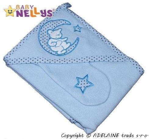 Osuška s kapucňou a zinku Baby Nellys® - sv.modrý medvedík na mesiačiku