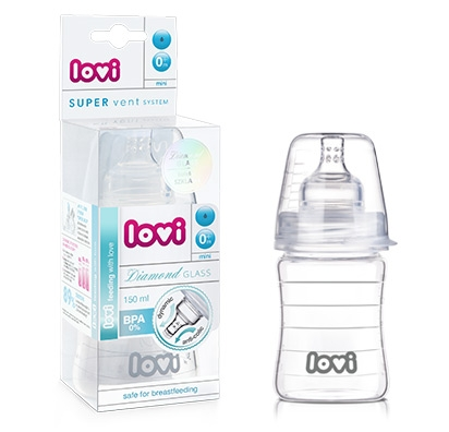 Fľaštička LOVI - 150ml - super vent DIAMOND GLASS