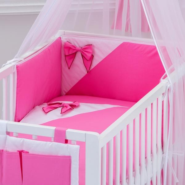 Baby Nellys Bavlnené obliečky - Mašľa - ružové vzor: 205