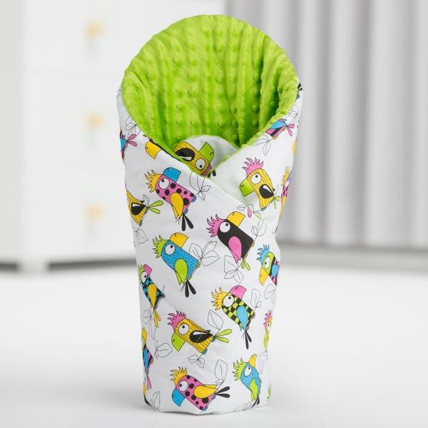 Luxusná zavinovačka Minky BABY - obojstranná papagáje / biela