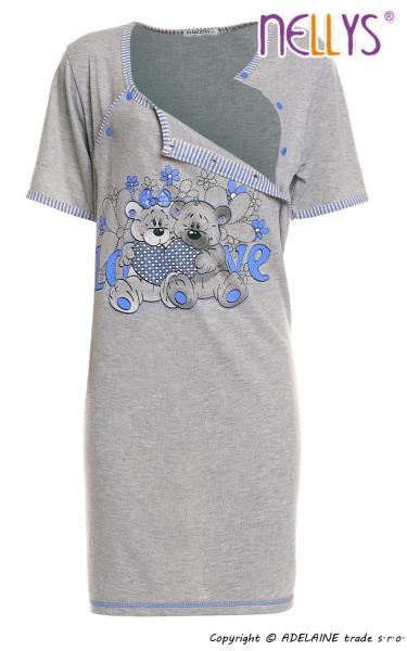 Těhotenská, kojící noční košile Medvídci - šedá/modrá