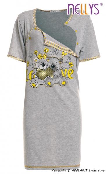 Těhotenská, kojící noční košile Medvídci - šedá/žltá