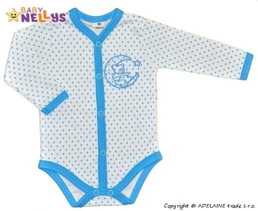 Body dl. rukáv zap. uprostred Baby Nellys ® - Hviezdičky - medvedík na mesiačku - tyrkys
