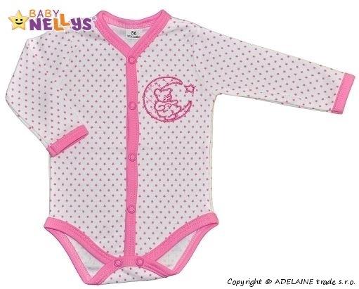 Body dl. rukáv zap. uprostred Baby Nellys ® - Hviezdičky - medvedík na mesiačku - ružové