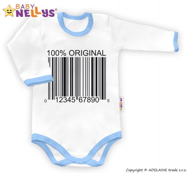 Baby Nellys Body dlhý rukáv 100% ORIGINÁL - biele / modrý lem