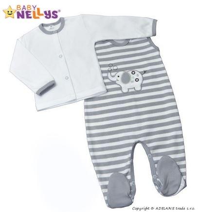 2D Súprava košieľka zap. uprostred + dupačky Baby Nellys ® - Sloník - prúžok sivý