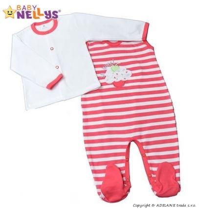 2D Súprava košieľka zap. uprostred + dupačky Baby Nellys ® - So Sweet - prúžok malinový