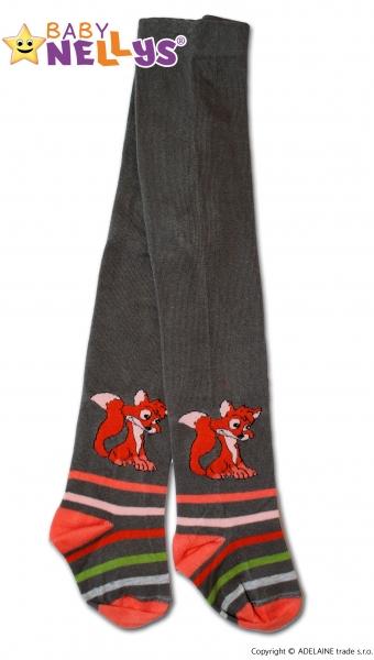 Bavlnené pančucháče Baby Nellys ® - Liška khaki s prúžkom, veľ. 92/98-92 (18-24m)