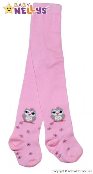 Bavlnené pančucháče Baby Nellys ® - Malá sova ružové, veľ. 104/110-110
