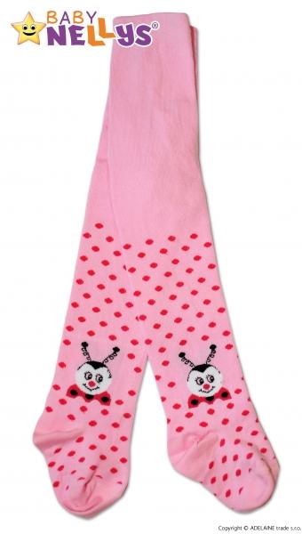 Bavlnené pančucháče Baby Nellys ® - Lienka ružové s bodkami, veľ. 104/110-110