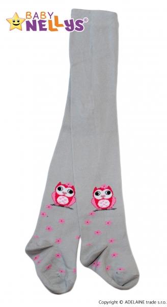 Bavlnené pančucháče Baby Nellys ® - Malá sova šedé, veľ. 104/110-110