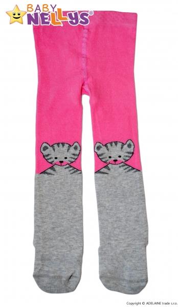Bavlnené pančucháče Baby Nellys ® - Mačka sivá/růžová, vel. 86-80 (9-12m)