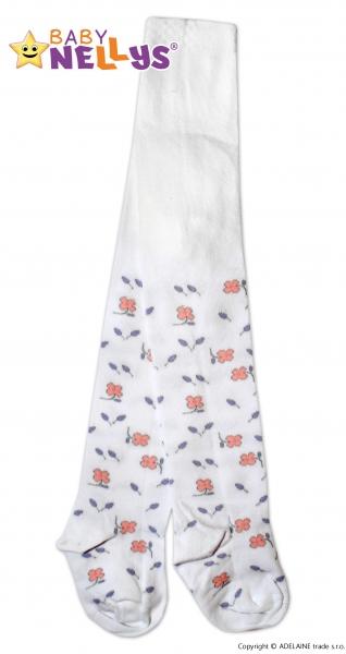 Bavlnené pančucháče Baby Nellys ® - Kvety v bielej