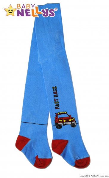 Bavlnené pančucháče Baby Nellys ® -  FAST RACE sv. modré, veľ. 92/98-92 (18-24m)