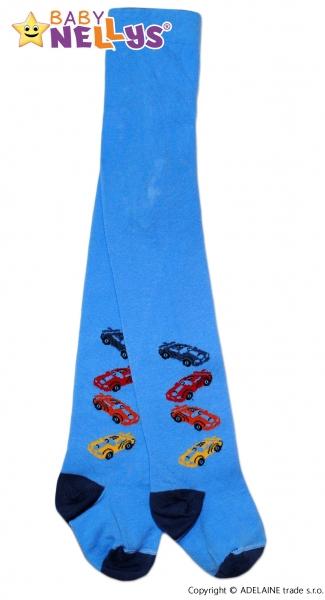 Bavlnené pančucháče Baby Nellys ® -   4 autíčka sv. modré, veľ. 80/86-80 (9-12m)