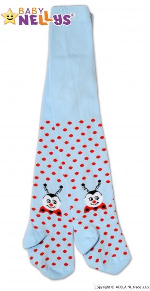 Bavlnené pančucháče Baby Nellys ® -   Lienka sv. modrá s bodkami, veľ. 92/98-92/98